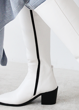 [2/12-2/14 5% discount] STITCH LONG BOOTS_WHITE (61000→58000)